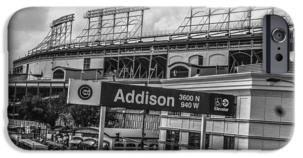 Wrigley iPhone Cases - Addison and Wrigley Black and White iPhone Case by John McGraw