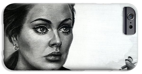 Celebrity Drawings iPhone Cases - Adele iPhone Case by Fithi Abraham