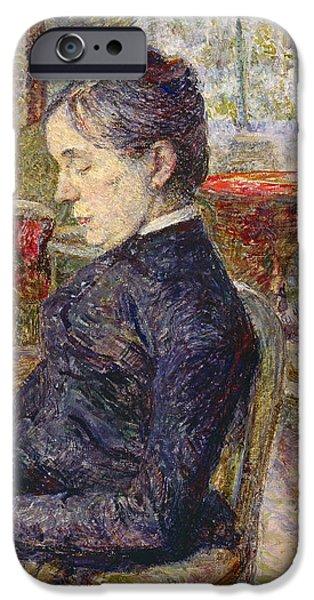 Aristocrat iPhone Cases - Adele Tapie De Celeyran 1840-1930 Countess Of Toulouse-lautrec-monfa In The Salon Of Chateau De iPhone Case by Henri de Toulouse-Lautrec