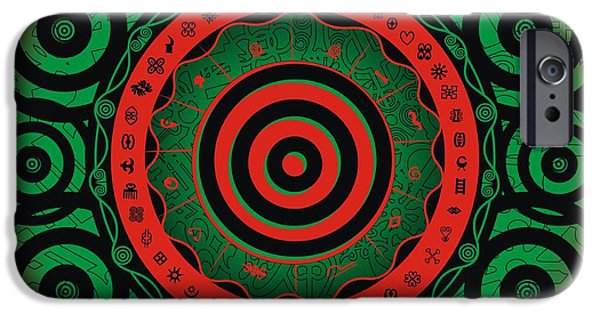 Disc iPhone Cases - Adinkra Disk Pan-African II iPhone Case by Adinke Inc