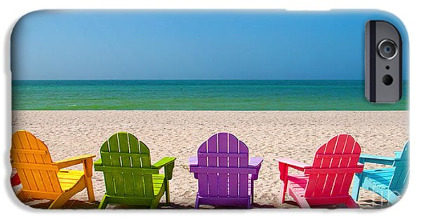 Gulf iPhone Cases - Adirondack Beach Chairs for a Summer Vacation in the Shell Sand  iPhone Case by ELITE IMAGE photography By Chad McDermott