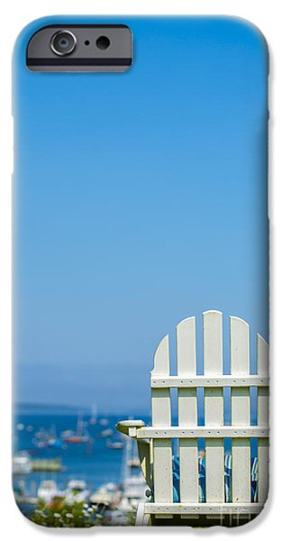 Maine iPhone Cases - Adirondack Chair by the Sea iPhone Case by Diane Diederich