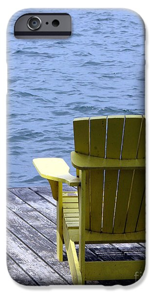 Furniture iPhone Cases - Adirondack Chair on Dock iPhone Case by Olivier Le Queinec