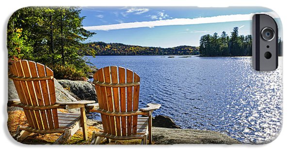 Forest iPhone Cases - Adirondack chairs at lake shore iPhone Case by Elena Elisseeva
