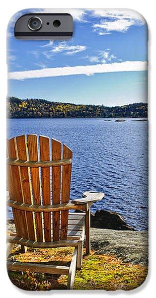Adirondack chairs at lake shore iPhone Case by Elena Elisseeva