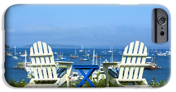 Sailboat Ocean iPhone Cases - Adirondack Chairs Overlooking the Ocean iPhone Case by Diane Diederich