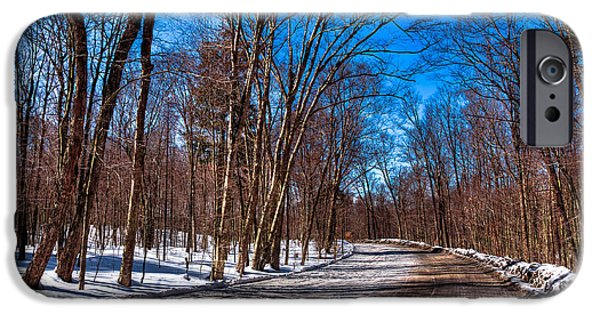 Snow Scene iPhone Cases - Adirondack Shadows on Rondaxe Road South iPhone Case by David Patterson
