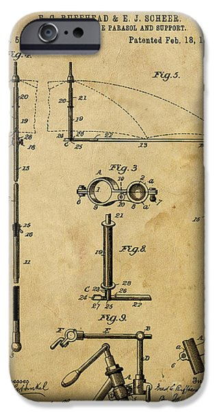 Support Drawings iPhone Cases - Adjustable Bicycle Parasol and Support Patent 2 iPhone Case by Pablo Franchi