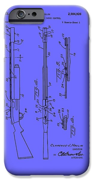 Weapon Drawings iPhone Cases - Adjustable Shotgun Choke Control Patent iPhone Case by Mountain Dreams