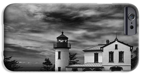 Cape Disappointment iPhone Cases - Admiralty Head Lighthouse BW iPhone Case by Joan Carroll