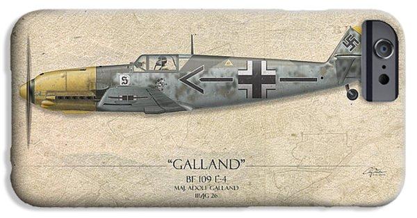 Aviation iPhone Cases - Adolf Galland Messerschmitt bf-109 - Map Background iPhone Case by Craig Tinder