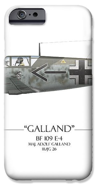 Adolf Galland Messerschmitt bf-109 - White Background iPhone Case by Craig Tinder