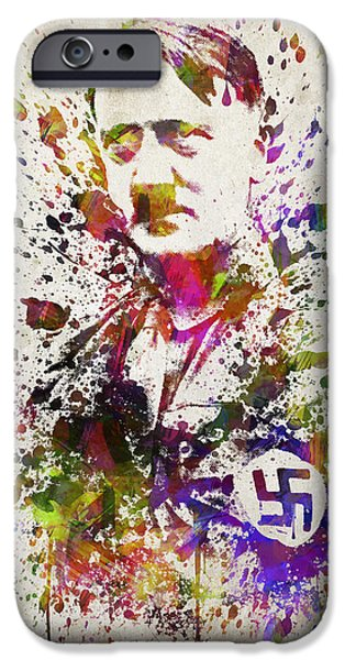 Politician iPhone Cases - Adolf Hitler in Color iPhone Case by Aged Pixel