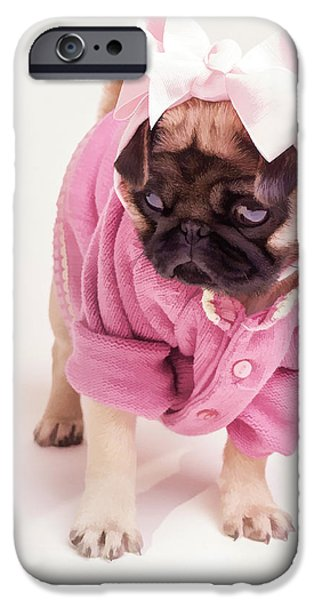 Puppy Digital Art iPhone Cases - Adorable Pug Puppy in Pink Bow and Sweater iPhone Case by Edward Fielding