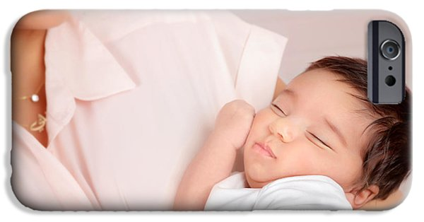 Innocence iPhone Cases - Adorable sleeping girl iPhone Case by Anna Omelchenko