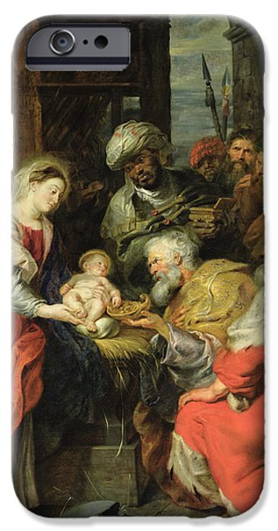 Negro iPhone Cases - Adoration Of The Magi, 1626-29 Oil Canvas iPhone Case by Peter Paul Rubens