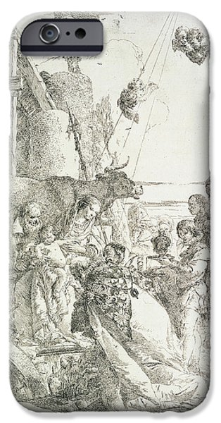 Holy Cow iPhone Cases - Adoration of the Magi iPhone Case by Giovanni Battista Tiepolo