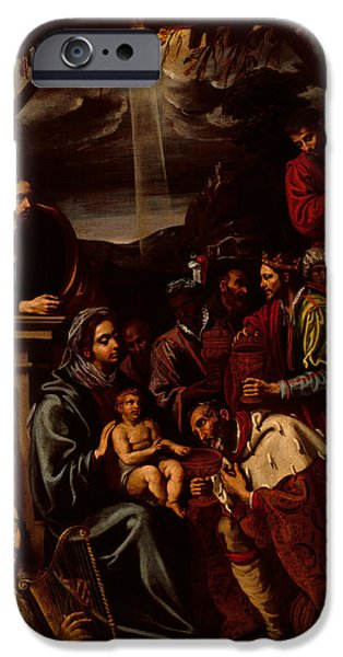 Nativity Paintings iPhone Cases - Adoration of the Magi iPhone Case by Unknown