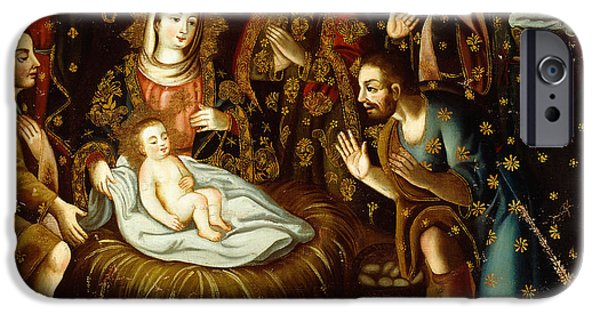Nativity Paintings iPhone Cases - Adoration of the Sheperds iPhone Case by Gaspar Miguel de Berrio