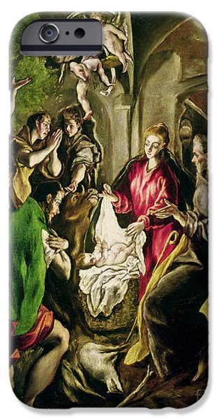 Manger iPhone Cases - Adoration of the Shepherds iPhone Case by El Greco Domenico Theotocopuli