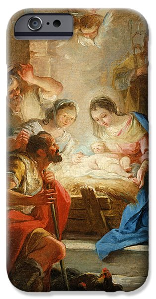 Jesus Photographs iPhone Cases - Adoration Of The Shepherds iPhone Case by Mariano Salvador de Maella