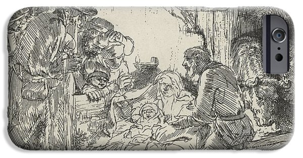Rembrandt Drawings iPhone Cases - Adoration Of The Shepherds With Lamp iPhone Case by Rembrandt Van Rijn