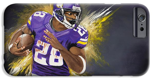 Don Medina iPhone Cases - Adrian Peterson iPhone Case by Don Medina