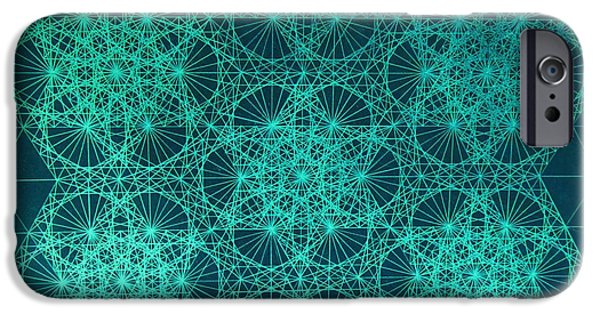 Fractal Drawings iPhone Cases - Adrift In Space Time iPhone Case by Jason Padgett