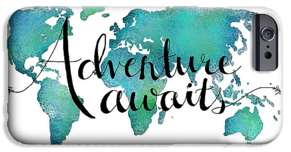 Travel iPhone Cases - Adventure Awaits - Travel Quote on World Map iPhone Case by Michelle Eshleman