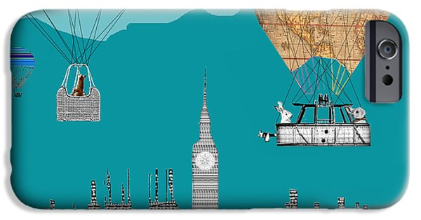 Hot Air Balloon Mixed Media iPhone Cases - Adventure Days London iPhone Case by Bri Buckley