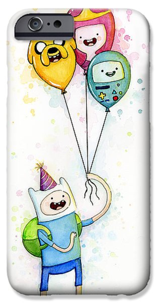 Birthday iPhone Cases - Adventure Time Finn with Birthday Balloons Jake Princess Bubblegum BMO iPhone Case by Olga Shvartsur