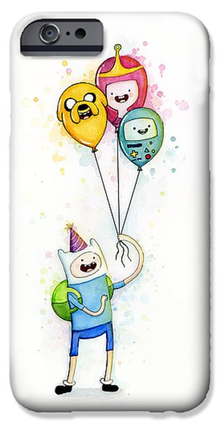 Olga Shvartsur iPhone Cases - Adventure Time Finn with Birthday Balloons Jake Princess Bubblegum BMO iPhone Case by Olga Shvartsur