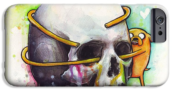Kids Art iPhone Cases - Adventure Time Jake Hugging Skull Watercolor Art iPhone Case by Olga Shvartsur