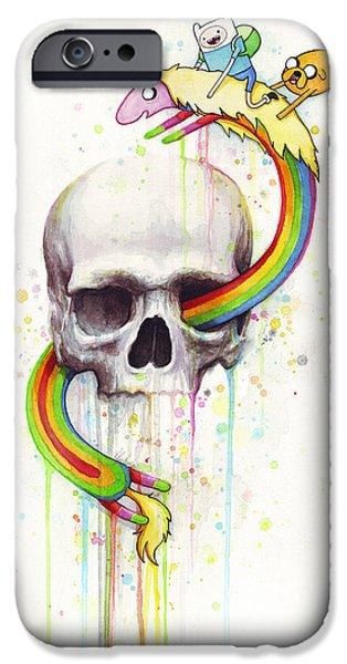 Adventure iPhone Cases - Adventure Time Skull Jake Finn Lady Rainicorn Watercolor iPhone Case by Olga Shvartsur