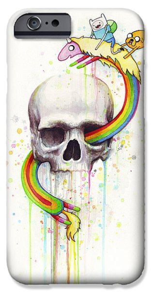 Adventure iPhone Cases - Adventure Time Skull Jake Finn Lady Rainicorn Watercolor iPhone Case by Olga Shvartsur
