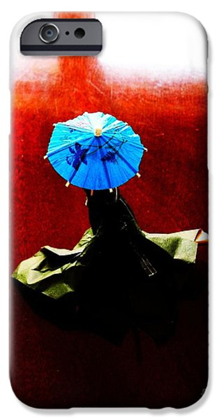 Paper Sculptures iPhone Cases - Adventures of a Blue Parasol iPhone Case by Nancy Kane Chapman