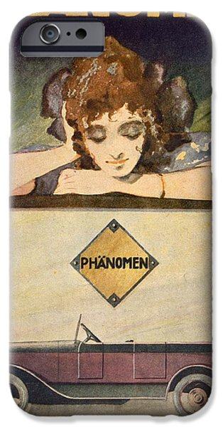 Female Drawings iPhone Cases - Advertisement for the Phanomen Car iPhone Case by Behrmann