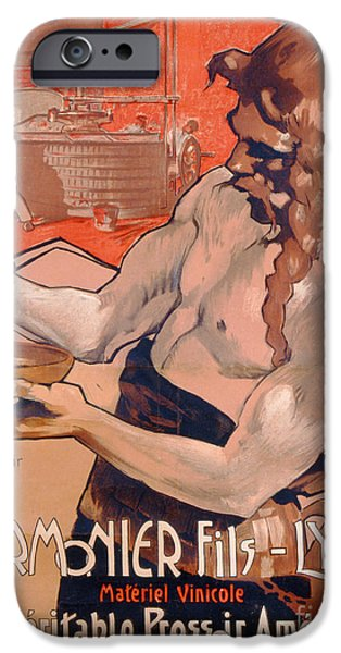 Grapes Drawings iPhone Cases - Advertisemet for Marmonier Fils Lyon iPhone Case by Adolfo Hohenstein
