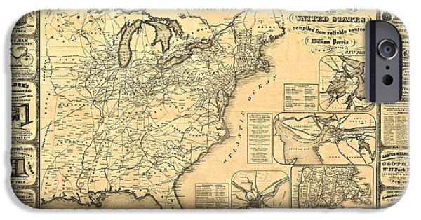 Antique Map Digital Art iPhone Cases - Advertising Map iPhone Case by Gary Grayson