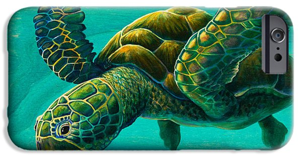 Soaring Paintings iPhone Cases - Aeko Sea Turtle iPhone Case by Emily Brantley
