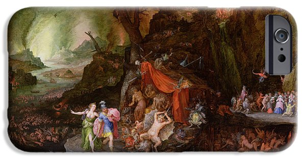 Oracle iPhone Cases - Aeneas And The Sibyl In The Underworld, 1598 Oil On Copper iPhone Case by Jan the Elder Brueghel