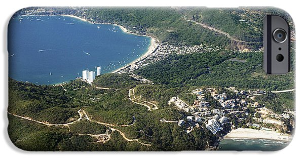 Mt Chocorua iPhone Cases - Aerial  of Acapulco Bay Mexico from Both Sides iPhone Case by Jodi Jacobson