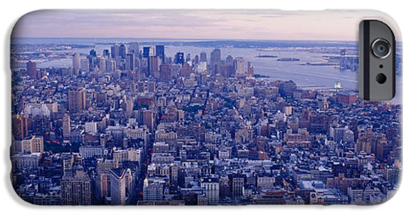 Hudson River iPhone Cases - Aerial View From Top Of Empire State iPhone Case by Panoramic Images
