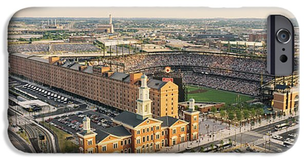 Camden Yards Stadium iPhone Cases - Aerial View Of A Baseball Stadium iPhone Case by Panoramic Images