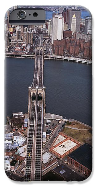 Connection iPhone Cases - Aerial View Of A Bridge, Brooklyn iPhone Case by Panoramic Images