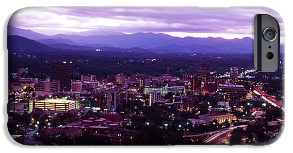 Asheville iPhone Cases - Aerial View Of A City Lit Up At Dusk iPhone Case by Panoramic Images
