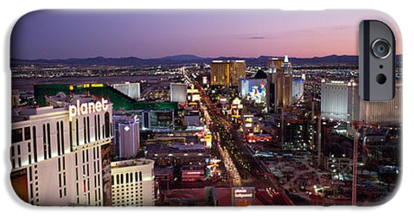 Built Structure iPhone Cases - Aerial View Of A City, Paris Las Vegas iPhone Case by Panoramic Images