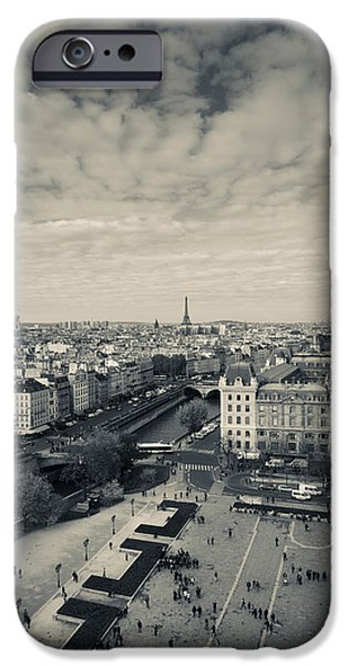 Notre Dame Cathedral iPhone Cases - Aerial View Of A City Viewed From Notre iPhone Case by Panoramic Images
