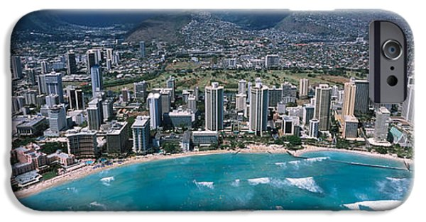 Built Structure iPhone Cases - Aerial View Of A City, Waikiki Beach iPhone Case by Panoramic Images