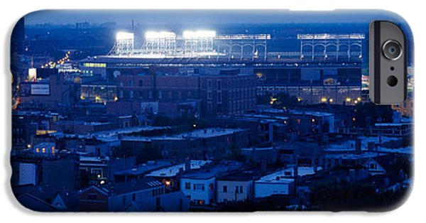 Wrigley iPhone Cases - Aerial View Of A City, Wrigley Field iPhone Case by Panoramic Images